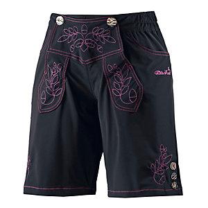 Wildzeit Lederne Bike Shorts Damen schwarz/pink