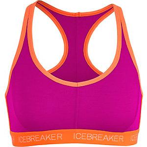 Icebreaker Sprite Racerback Sport-BH Damen himbeer/neonorange