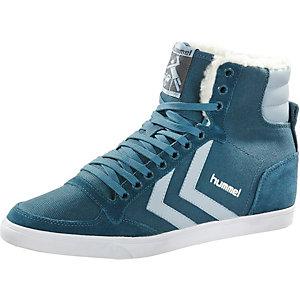 hummel Stadil Waxed High Sneaker Damen petrol/hellblau
