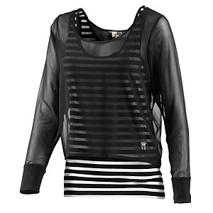 Neighborhood 2-in-1 Langarmshirt Damen schwarz/weiß