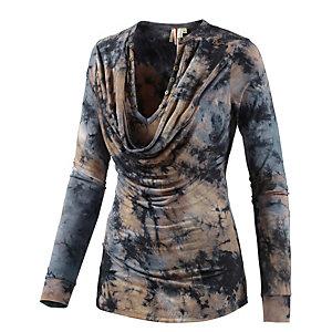 Khujo Langarmshirt Damen blau/beige
