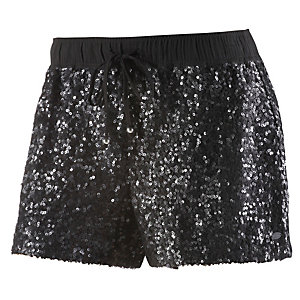 TOM TAILOR Shorts Damen schwarz/glitzer