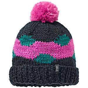Jack Wolfskin Fluffy Check Cap Bommelmütze pink/schwarz