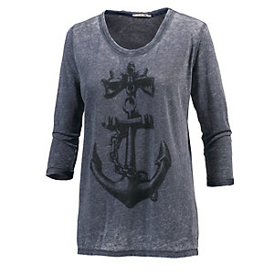 Rich & Royal Langarmshirt Damen marine/weiß