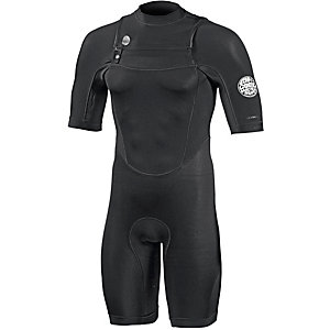 Rip Curl Dawn Patrol Chest Zip ShortSleeve Spring Neoprenanzug Herren schwarz