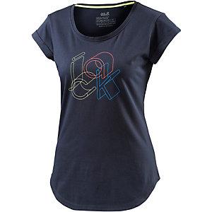 Jack Wolfskin Mixed Jack T-Shirt Damen in dunkelblau, Größe XXL