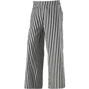Bequeme Streifenhoseim Straight Fitmit elastischem Bund. schwarz/weiß