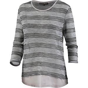 TOM TAILOR Layerlangarmshirt Damen grau/weiß