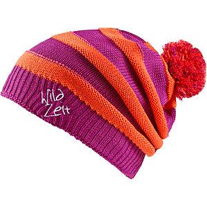 Wildzeit Beanie Streifenhörnchen pink-orange Bommelmütze rosa