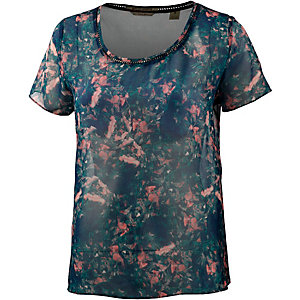 Maison Scotch Kurzarmbluse Damen blau/rose