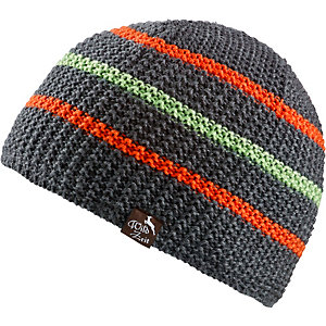 Wildzeit Strickmütze Querdenker anthrazit-orange Beanie grau