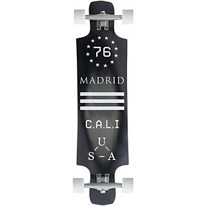 """Madrid Longboard Maniac 39"""" BLK Standard Longboard-Komplettset schwarz/weiß"""