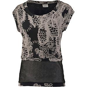 wellicious Printshirt Damen schwarz/weiß