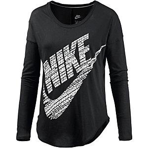 Nike Langarmshirt Damen schwarz/weiß