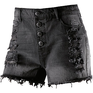 Only Jeansshorts Damen destroyed black denim