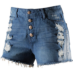 Only Jeansshorts Damen destroyed blue denim