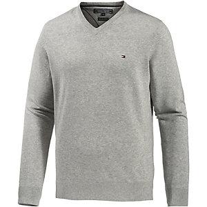 Tommy Hilfiger Cotton Htr 14 Gauge V-Pullover Herren grau
