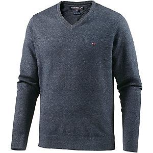 Tommy Hilfiger Cotton Htr 14 Gauge V-Pullover Herren blau