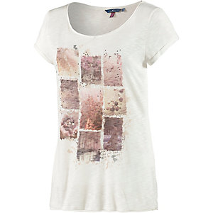 TOM TAILOR T-Shirt Damen weiß/koralle