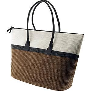pieces strandtasche damen beige grau schwarz im online. Black Bedroom Furniture Sets. Home Design Ideas