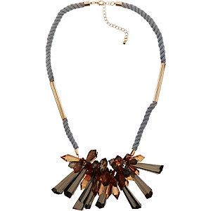 Ichi Halskette Damen grau/goldfarben