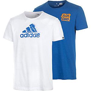 adidas Shirt Doppelpack Herren blau/weiß