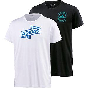 adidas Shirt Doppelpack Herren schwarz/weiß