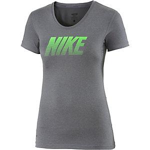 Nike Pro Dry Fit Funktionsshirt Damen dunkelgrau/grün