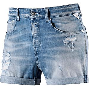 REPLAY Shorts Damen blue destroyed denim