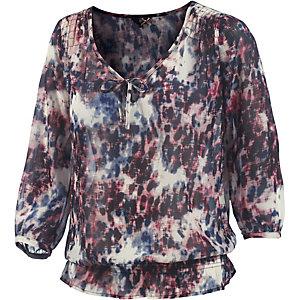 DEPT Bluse Tunika Damen weiß/blau/rose