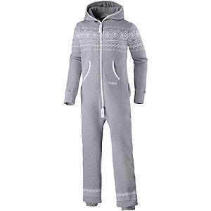 Onepiece Lusekofte Jumpsuit grau/weiß
