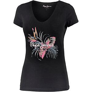 Pepe Jeans Printshirt Damen schwarz/bunt