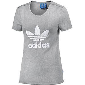 adidas T-Shirt Damen graumelange/weiß