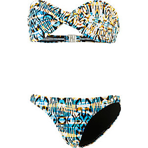 Maui Wowie Bandeau Bikini Damen weiß/allover