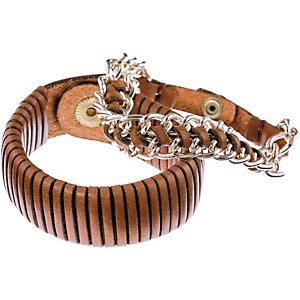 Pieces Armband Damen cognac/silber