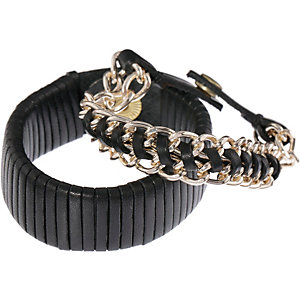 Pieces Armband Damen schwarz/gold