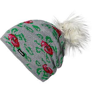 Eisbär Rose Lux Bommelmütze grau/rot