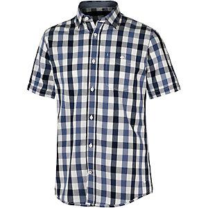 TOM TAILOR Kurzarmhemd Herren blau/weiß