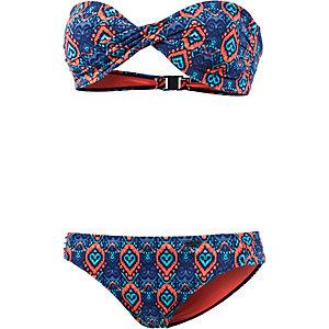 Shiwi Bandeau Bikini Damen blau/rot