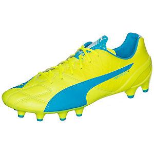 PUMA evoSPEED 1.4 Leather Fußballschuhe Herren neongelb / blau