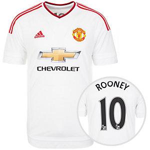 adidas Manchester United Rooney 15/16 Auswärts Fußballtrikot Herren weiß / rot