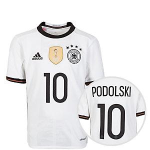 adidas DFB Trikot Podolski EM 2016 Heim Fußballtrikot Kinder weiß / schwarz