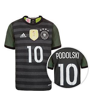 adidas DFB Podolski EM 2016 Auswärts Fußballtrikot Kinder grau / weiß / grün