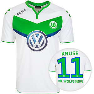 KAPPA VfL Wolfsburg Home Kruse 2015/2016 Fußballtrikot Herren weiß / grün