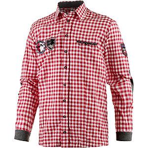 Almgwand Gerlad Langarmhemd Herren rot/weiß