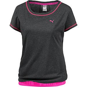 PUMA T-Shirt Damen dunkelgrau/pink