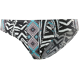Skiny African Tribe Bikini Hose Damen schwarz/weiß/türkis