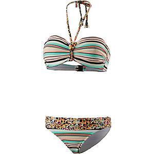 Beachlife Bandeau Bikini Damen weiß/orange/mint