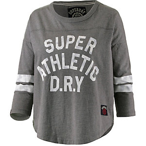 Superdry Printlangarmshirt Damen grau/weiß