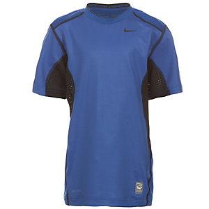 Nike Pro Combat Hypercool Kompressionsshirt Kinder blau / schwarz